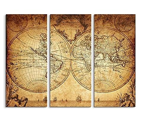 3x40x90cm (Gesamt:130x90cm) 3teiliges Bild auf Leinwand Vintage Weltkarte von 1733 Wandbild auf Leinwand als