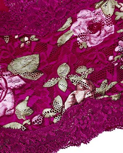 Kisslace Femme Soutien-gorge en Dentelle Floral Sans Couture Sans Armatures Bra de Sport Crop Tops Vin Rouge Floral