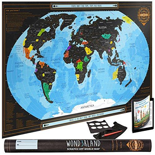 Premium Scratch Off World Map - Rubbel Weltkarte mit Ländergrenzen | Großes Personalisiertes Landkarten Poster | Luxus Geschenk für Reiseliebhaber und als Reise Erinnerung | BONUS Selbsthaftende Aufkleber + Rubbel Werkzeug + Abwischtuch + Reise eBook (Weltkarte Im Klassenzimmer)