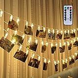 fourHeart LED Foto Clip Lichterkette + Fernbedienung & Timer , 40 Foto-Clips, 5 Meter/16,4 Füße, 8 Mode Fernbedienung, Warmweiß, batteriebetrieben, ideal für hängende Bilder, Notizen, Artwork, Memos Valentinstag