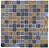 Mosaik Fliese ECO Recycling GLAS ECO schwarz anthrazit satin gold bronze oxide für WAND BAD WC DUSCHE KÜCHE FLIESENSPIEGEL THEKENVERKLEIDUNG BADEWANNENVERKLEIDUNG Mosaikmatte Mosaikplatte