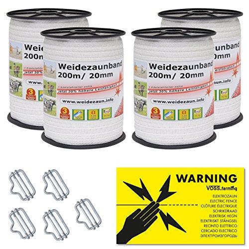 *NEU: Sparpack – Weidezaunband mit 30% mehr Leitfähigkeit – insgesamt 800m + Elektro-Zaun-Band-Zubehör*
