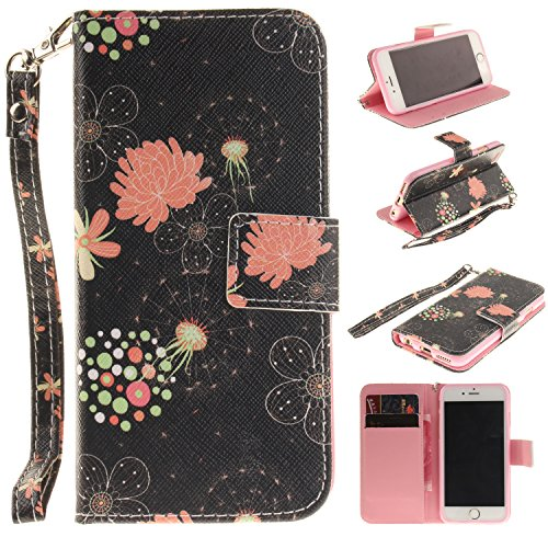 Cozy Hut Portefeuille Housse Coque à rabat pour iPhone 6 6S (4,7 Zoll), iPhone 6 6S (4,7 Zoll) Bookstyle Coque Wallet Cuir Folio Housse, iPhone 6 6S (4,7 Zoll) Leather Wallet Case PU Cover Skin,Coque  Fleur multi-feuilles