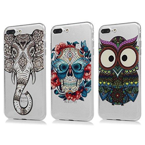 3 x iPhone 7 plus Handyhülle, KASOS Hülle für iPhone 8 Plus, TPU Case Etui Schale Schutzhülle Protective Schützende Stoßdämpfung Cover in Stammes-Eule + Schmetterling Schädel + Muster Elefant (Schädel, Stamm)