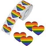 Adesivi nastro arcobaleno, 500 pezzi Love Gay Pride 7 colori strisce nastro a forma di cuore per le celebrazioni del Gay Prid