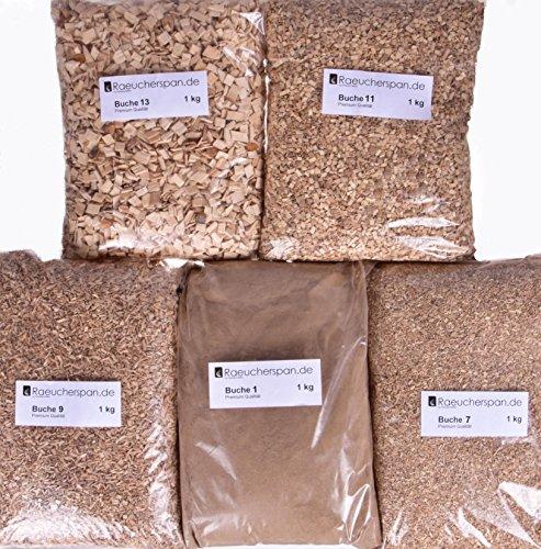 Preisvergleich Produktbild Räucherspäne Räuchermehl,  Buche,  5kg,  5 Typen a 1kg Zum Kalt- und Heißräuchern,  Sparpaket