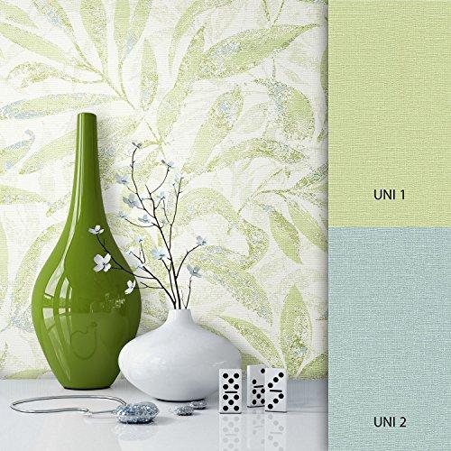NEWROOM Blumentapete Tapete Grün Blumen Blätter Floral Vliestapete Vlies moderne Design Optik...