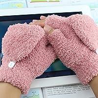 La metà degli studenti clamshell guanto di uomini in maglia di lana senza dita guanti spessi gli amanti del caldo,Rosa
