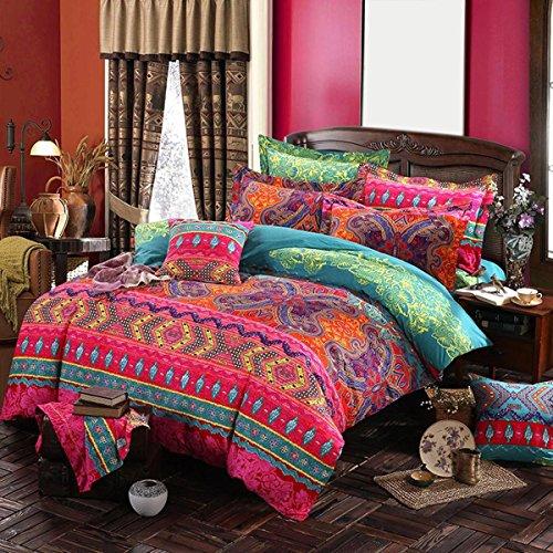 BEIZI ethnischen Stil bettwäsche Vintage Druck Schlafzimmer Set Mode Elegante Duvet Set 4 stücke, A