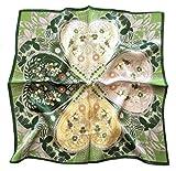 Avenella: bezauberndes NICKITUCH mit Kleeblatt-Muster in floralem Design, Tuch, Halstuch; ca. 53x53 cm, in floralem Design