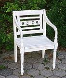 AMBIENTE-LEBENSART.DE Teak Holz Stuhl Batavia Teak Garten Stuhl Teak Armlehnen Stuhl Teak Sessel Massiv-Holz Shabby Chic White washed Optik
