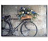 Quadri L&C ITALIA Bici Vintage Retro | Quadro Moderno Made in Italy Stampa su Tela Canvas 70 x 50 cm | arredo Shabby Chic Soggiorno, Camera Letto, Salotto | Decorazioni Appendere Bicicletta Fiori