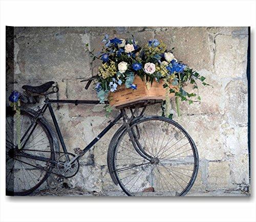 Bicicleta Vintage retò–cuadro moderno 70x 50cm Impresión sobre lienzo Cuadros modernos Shabby Chic provenzal, peonías rosas Corazones Style Romantic Country Muebles Casa Salón Oficina Home Decor
