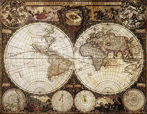 Bilderdepot24 Fototapete selbstklebend Weltkarte Antik - 200x150 cm - Wandposter Tapete Motivtapete - Antiquität Historisch Globus