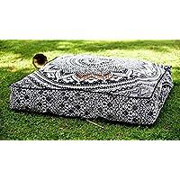 Preisvergleich für Sophia Art Indischen Grau Ombre Mandala Boden Kissen quadratisch osmanischen Pouf Sofa Übergroße Kissenbezug Baumwolle Platz Ottoman Puffs Hund/Pets Bett (grau)
