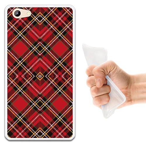 WoowCase Doogee Y300 Hülle, Handyhülle Silikon für [ Doogee Y300 ] Rote & braune schottenkaro Raute Handytasche Handy Cover Case Schutzhülle Flexible TPU - Transparent