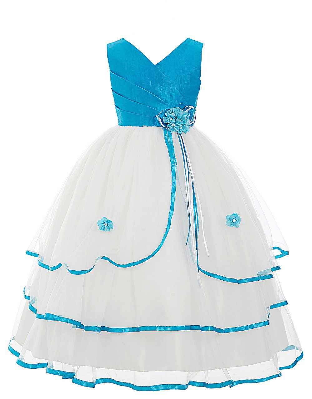 2dcea37e15cfc SOFYANA Baby – Girl's Satin Princess Gown Birthday Party Wear Long Frock  Dress for Girls_White and Sky Blue_129_5-6 Years Kidswear