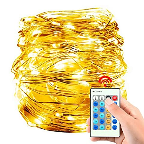YMing Waterproof 10M 100 LED String Lights, Low Voltage Copper Wire Lights Fairy Lights with Remote Control, USB Powered Decorative Rope Lights for Halloween/ Christmas/ Party/ Wedding/ Garden/ Festival (Warm White)