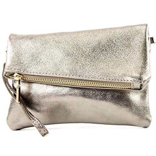 modamoda de -. ital petites dames de sac d'épaule de sac en cuir d'embrayage poignet Sac en cuir T95, Präzise Farbe (nur Farbe):Altgold-Metallic