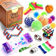 Sensory Fidget Toys Set, 22 Pcs., Stress Relief and Anti-Anxiety Tools Bundle for Kids and Adults, Marble and