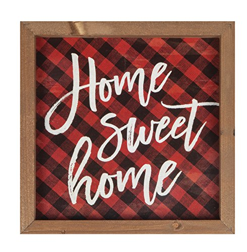 P. Graham Dunn Home Sweet Home Buffalo Plaid 11x 11Holz Farmhouse Rahmen Wandschild