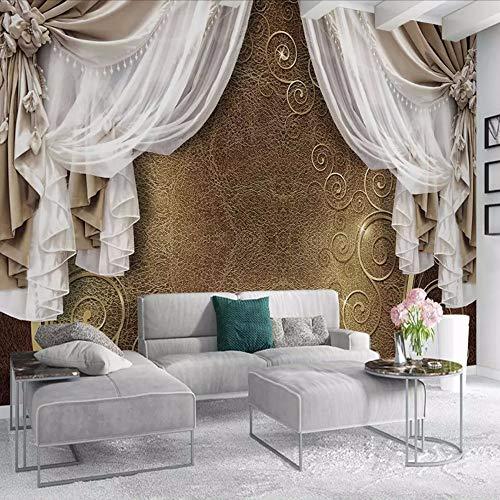 Zxdcd Benutzerdefinierte Wandbild Tapete 3D Europäischen Stil Vorhang Spitze Modernes Design Wandmalerei Wohnzimmer Schlafzimmer Kunst Tapete 3D-280X200Cm -