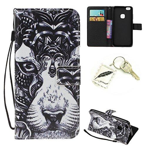 Preisvergleich Produktbild Silikonsoftshell PU Hülle für Huawei P10 Lite (5,2 Zoll) Tasche Schutz Hülle Case Cover Etui Strass Schutz schutzhülle Bumper Schale Silicone case+Exquisite key chain X1#KH (8)