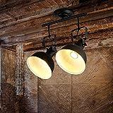 Vintage LED Spotlight Deckenleuchte, Retro Design E27 Metall Deckenlampe,Black,B