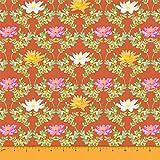 Soimoi Orange Heavy Canvas Stoff Quarterfoil & Water Lily