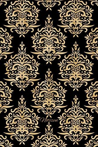 Notizen: Goldfarbenes Damask Ornament Tagebuch / Journal mit 120 leeren karierten Seiten für deine Notizen, Gedanken, Aufgaben, Gedichte und Ideen.