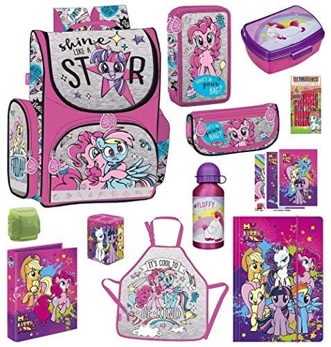 Familando My Little Pony Schulranzen-Set 12 TLG. mit Dose und Flasche Fluffy, Federmappe gefüllt und Regenschutz Einhorn Regenbogen
