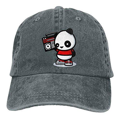PhqonGoodThing Fashion Unisex Panda Listening to The Radio Cowboy Ball Baseball Caps Snapback Athletic Hat Radio-cap-baseball-cap
