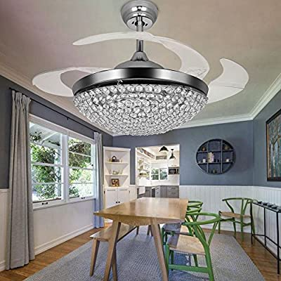 JYKJ Ceiling Fan With LED Chandelier Crystal Chandelier Fan With Remote Fan Chandelier, 42 Inch Retractable Fan Blade Modern Chrome Ceiling Fan