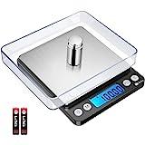 Brifit 500g/0,01g Hoge Precisie Digitale Weegschaal met 100g Gewicht, Keukenweegschaal met Achtergrondverlichting, 2 Laden, T