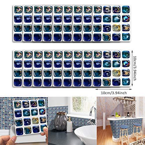 Yallylunn 18Pcs Self Adhesive Waterproof Black Marble Mosaic Wall Art Kitchen Tile Sticker Es Nimmt Umweltschutzmaterial An Einfaches Und Schnelles Anbringen