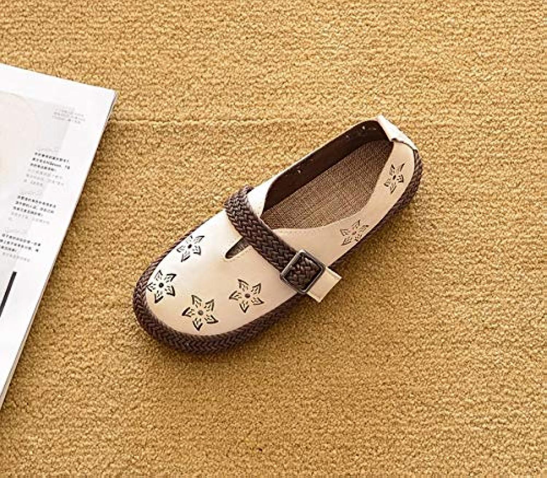 ZHAOZHIGUANG Lady PU Talón Plano Suela Gruesa Cabeza Redonda Soft Zapatos Cómodos Zapatos De Guisantes Lok 35...