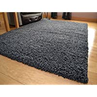 """Shaggy Thick Modern Luxurious Charcoal Dark Grey Gray Rug High Pile Long Pile Soft Pile Anti Shedding Available in 9 Sizes (160cm x 220cm 5ft 3"""" x 7ft 3"""")"""