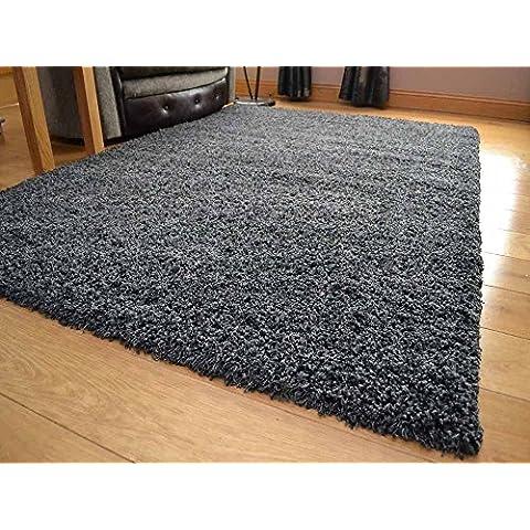 Carbón de lujo moderno Shaggy grueso gris oscuro gris alfombra alta pila suave largo anti-vertimiento disponible en 9 tamaños, gris oscuro, 80cm x 150cm 2ft 7