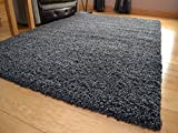 """Shaggy Thick Modern Luxurious Charcoal Dark Grey Gray Rug High Pile Long Pile Soft Pile Anti Shedding Available in 9 Sizes (120cm x 170cm 3ft 11"""" x 5ft 7"""")"""