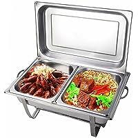 Set de réchaud carré 7,5 l en acier inoxydable - Récipient de conservation au chaud pour plats - Chauffe-plat pour…