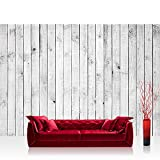 Vlies Fototapete 400x280 cm PREMIUM PLUS Wand Foto Tapete Wand Bild Vliestapete - WHITE PAINTED WOODEN WALL - Holzoptik Holzwand, HolzPanel, weißes Holz - no. 085