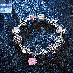 YIYIYYA pour Les Femmes Bracelet Bracelet Médaille Antique & Bangle avec Amour Fleur Boule De Cristal Perles Bracelets Bijoux De Mariage pour Les Femmes,20Cm