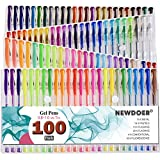 newdoer 100colores bolígrafos de gel–para adulto y libros para colorear, dibujar, escribir–Best Regalo Ideal para Navidad