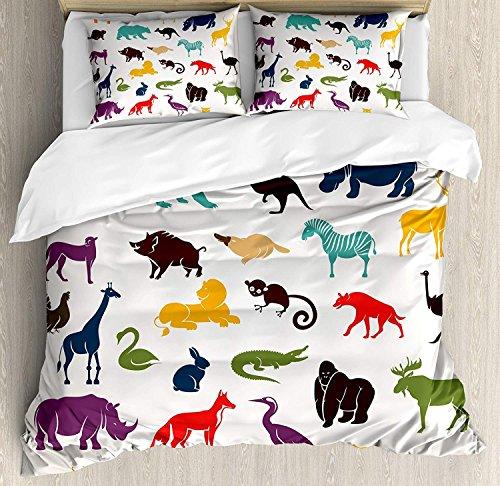 Zoo 3-teiliges Bettwäscheset Bettbezug-Set, afrikanische und europäische Tier-Silhouetten im Cartoon-Stil Safari Wildlife Zoo Theme, 3-tlg. Tröster- / Qulitbezug-Set mit 2 Kissenbezügen, mehrfarbig -