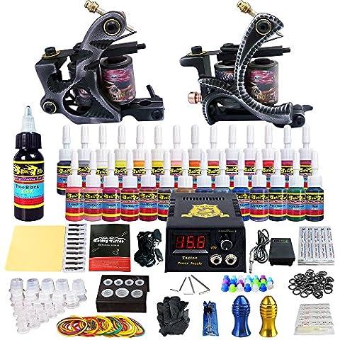 Solong Tattoo® Kit de Tatouage Complète 2 Machine à Tatouer Professionnelle 28 Encres Power Supply Aiguille de Tatouage Tattoo Kit Set TK224