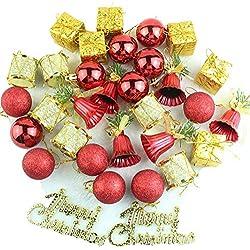 DELEY 32pcs Bagattelle Decorazioni Natalizie Assortiti Ornamento Palle Palline Jingle Bells Regali Partito Natale Decor Vacanza Addobbi Rosa