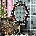 Blansdi barock antik Wandspiegel 33 x 17.5cm Landhaus Badspiegel Kosmetik bewegliche Spiegel oval Standspiegel Tischspiegel Desktop Mirror