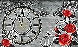 Tapeto Fototapete - Rosen Uhr Holzbretter Vintage - Papier 254 x 184 cm (Breite x Höhe) - Wandbild Jahrgang