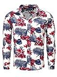 CARISMA Herren Langarm Hemd Recife Slim Fit Schnitt Flower Print Hawaii Sommer rot blau S