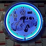 HERBIE-VW KÄFER-BEETLE LOGO 53 / VW / KENNZEICHEN - NEONUHR NEON CLOCK WANDUHR MIT BLAUEN NEON RING